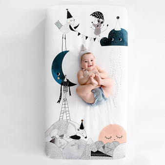 Rookie Human Cotton Sateen Crib Sheet- The Moon's Birthday