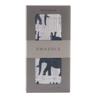 New Castle Blue Elephant Swaddle
