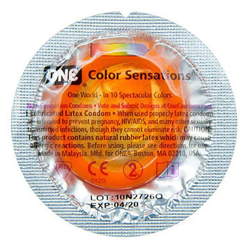 Back of packaging of single Color Sensations Condom