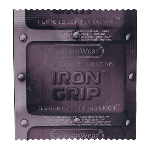 Caution Wear Iron Grip Snugger Fit individual condom packaging