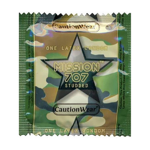 Caution Wear Mission 707 Studded individual condom packaging