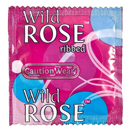 Caution Wear Wild Rose Ribbed individual condom packaging
