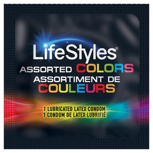 Lifestyles Assorted Colors individual condom packaging