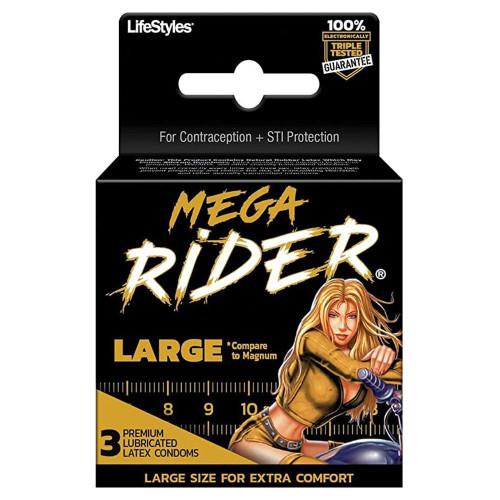 LifeStyles Mega Rider Condoms 3 pack packaging