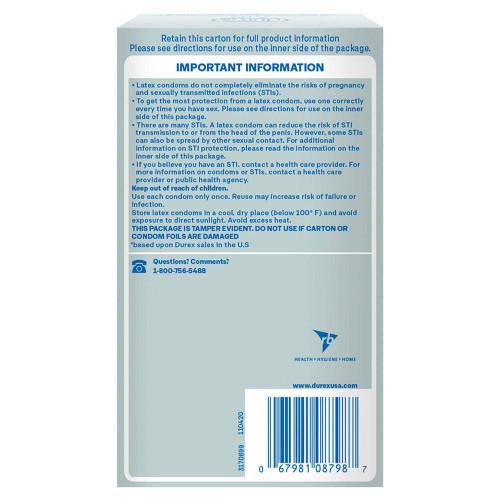 Durex Air Condoms retail packaging back of box