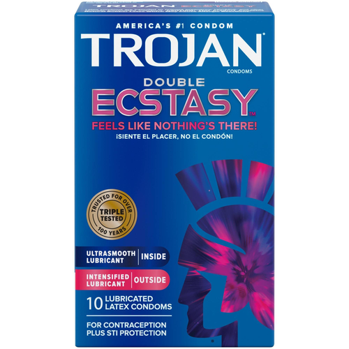 Trojan Double Ecstasy Lubricated Condoms front of retail box