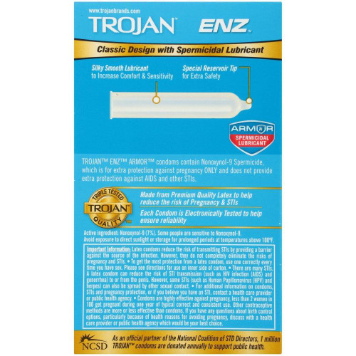 Trojan ENZ Spermicidal Lubricated Condoms back of retail box