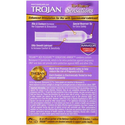 Trojan Her Pleasure Spermicidal Lubricated Condoms back of retail box