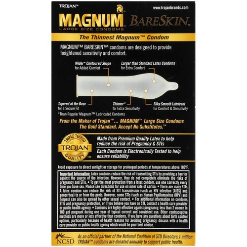 Trojan Magnum BareSkin Condoms back of retail box