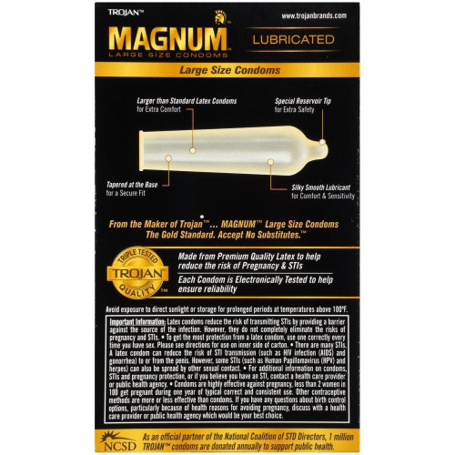 Trojan Magnum Condoms back of retail box