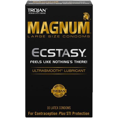 Trojan Magnum Ecstasy Ultrasmooth Condoms front of retail box
