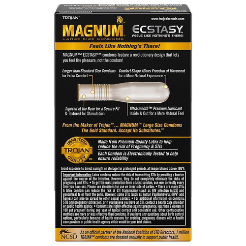 Trojan Magnum Ecstasy Ultrasmooth Condoms back of retail box
