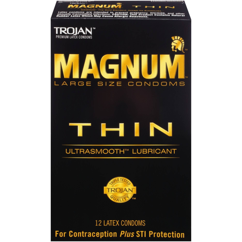 Trojan Magnum Thin Lubricated Condoms front of retail packaging