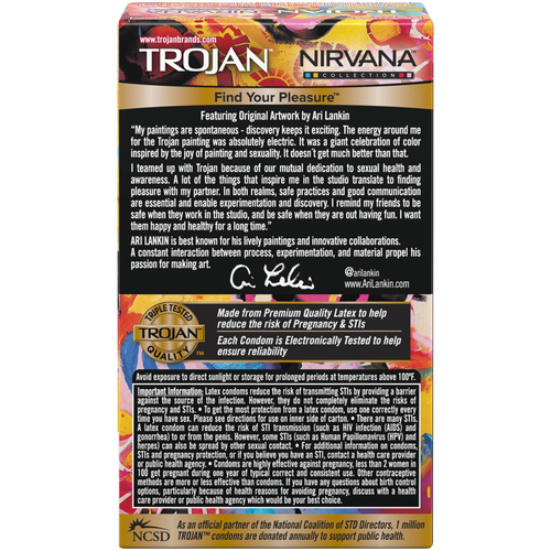 Trojan Nirvana Collection Condoms back of retail packaging
