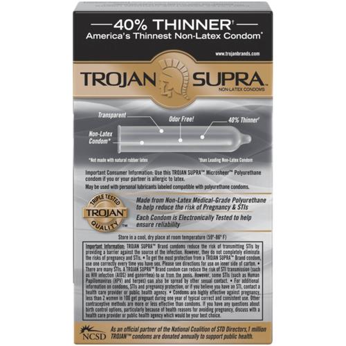 Trojan supra non-latex bareskin condoms back of 6-pack box
