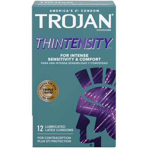 Trojan Thintensity Lubricated Condoms front of 12 pack box