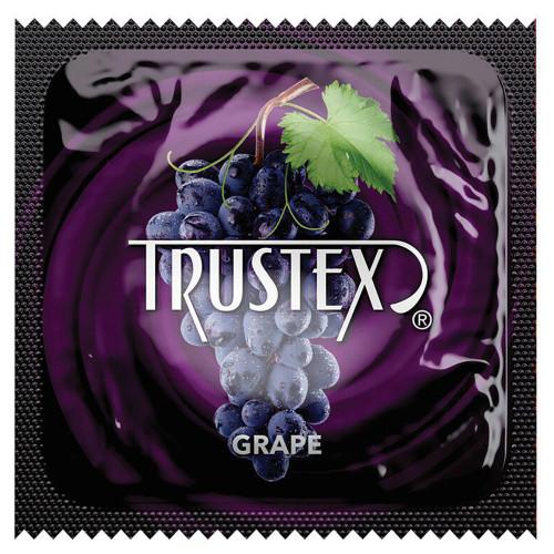 Trustex Grape Flavored Lubricated Condoms Single Condom Packagin