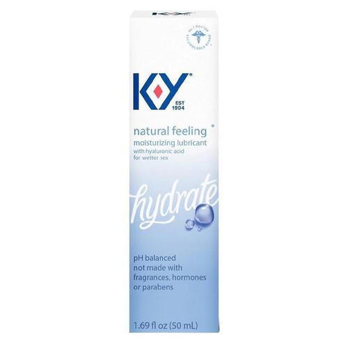 K-Y NATURAL FEELING W/HYALURONIC ACID front of retail packaging