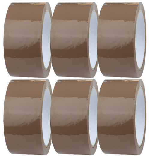 6 Rolls 48mm x 66m Brown Packaging Tape for Packing Parcels, Cardboard Boxes and Cartons