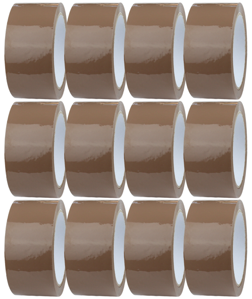 12 Rolls - Brown Parcel Tape - 48mm x 66m