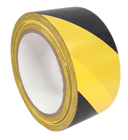 1 Roll - Yellow & Black Hazard Warning Tape - 50mm x 33m