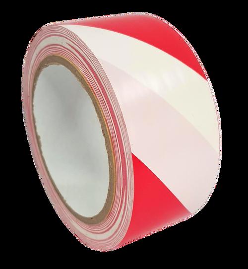 1 Roll - Red & White Hazard Warning Tape - 50mm x 33m