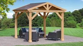 Yardistry Meridian Pavillion with Cedar Wood & Aluminum Roof (10 ft. x 10 ft.)