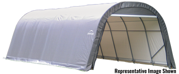 ShelterCoat 13 x 28 ft. Wind and Snow Rated Garage Round Gray STD