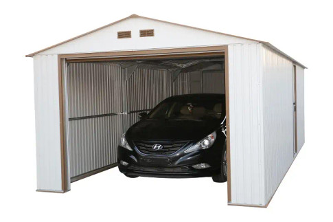 Duramax Imperial Metal Garage Off White Brown 12x26