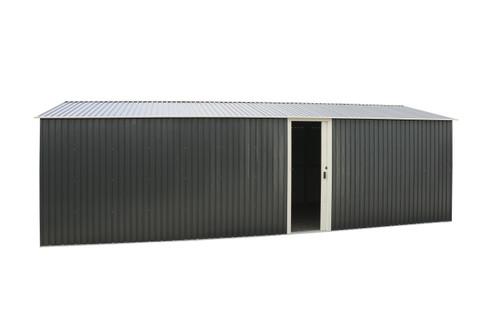 Duramax Imperial Metal Garage Dark Gray with White Trim 12x32