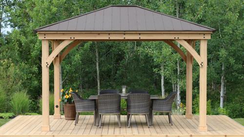 Yardistry Meridian Gazebo with Cedar Wood & Aluminum Roof (12 ft. x 14 ft.)
