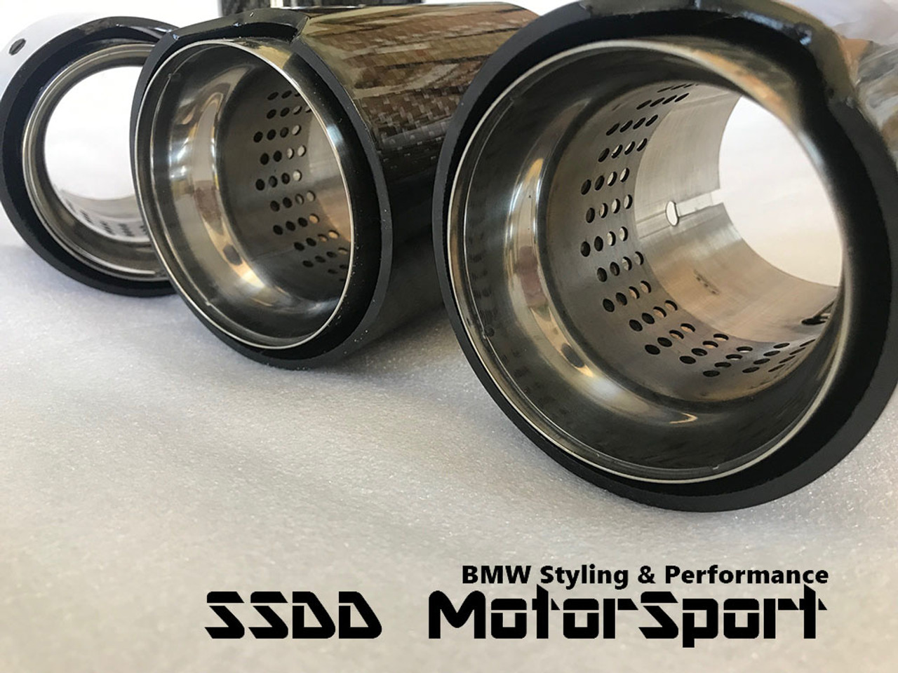 Carbon Fibre Perforated Exhaust Tips for BMW FX M2, M3, M4, M5, and M6    Carbon Fibre & Stainless Steel