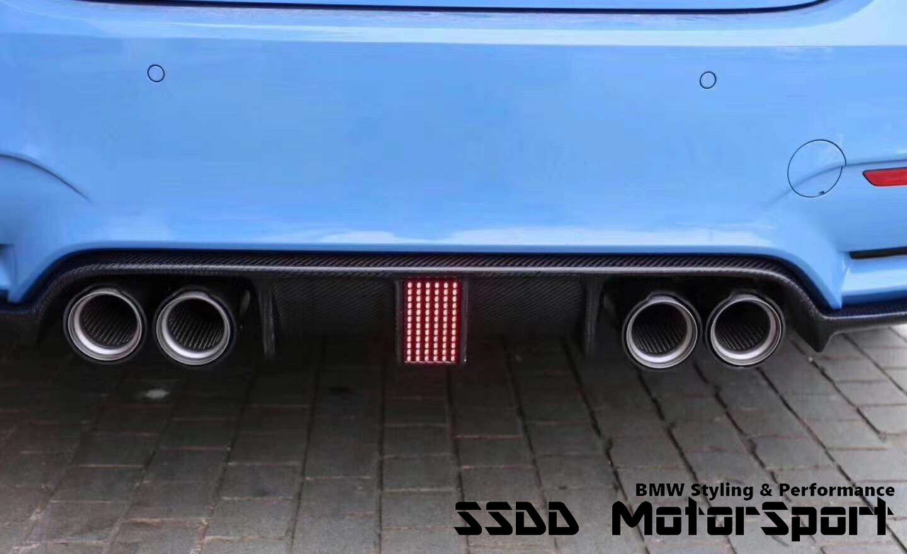 F80 M3 F82 F83 M4 LED Carbon Fibre Rear Diffuser - F1 Style With LED Brake  Lights