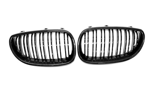 E60 E61 5 Series Carbon Fibre Double Slats Kidney Grilles