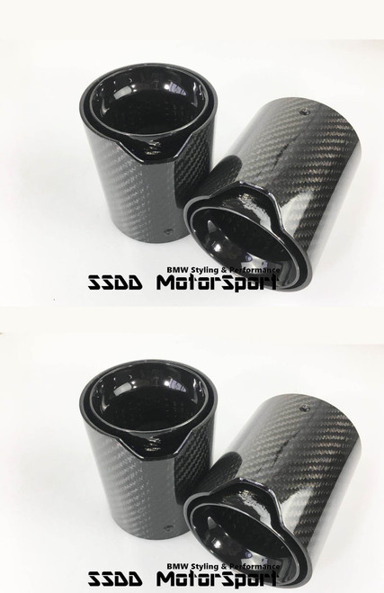 BMW M2 M3 M4 M5 M6 Carbon Fibre Gloss Black Exhaust Tips