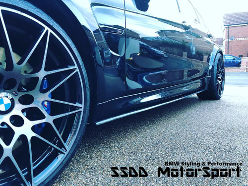 BMW F80 M3 F82 F83 M4 MPerformance Style Carbon Fibre Side Skirt Extensions Blades