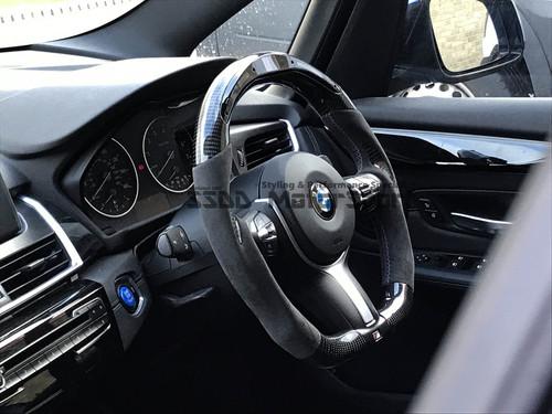 BMW FX 1 2 3 4 Series Flat Bottom Carbon LCD Race Display Steering Wheel