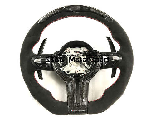 BMW FX 1 2 3 4 Series Flat Bottom Carbon Race Display Steering Wheel