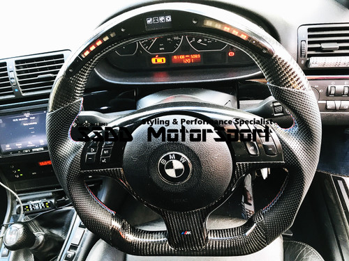BMW E46 E39 Flat Bottom Carbon LCD Race Display Steering Wheel