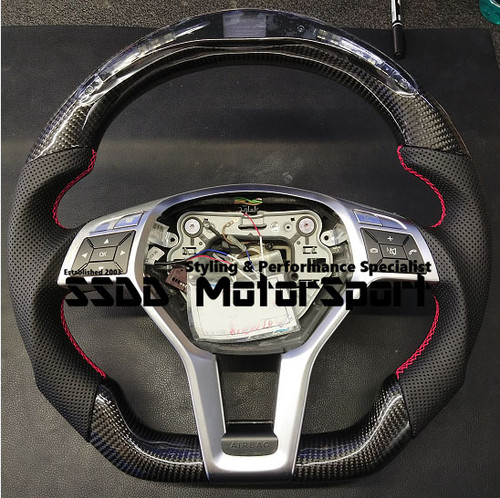 Mercedes-Benz W204 Flat Bottom Carbon LCD Race Display Steering Wheel