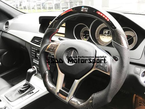 W204 C W207 E W176 A GLK CLA Carbon LED Flat Bottom Steering Wheel