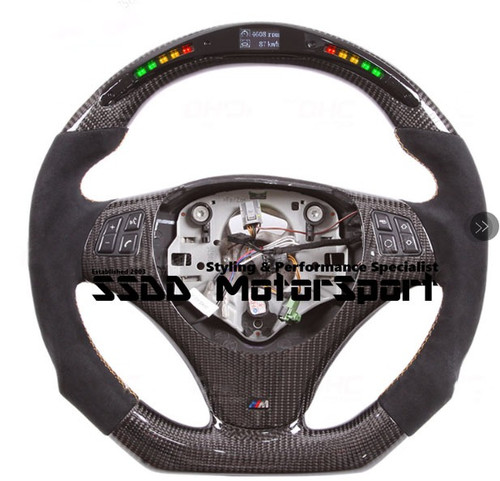 E90 E92 M SPORT Flat Bottom Carbon LCD Race Display Steering Wheel (With paddles, Non M3)