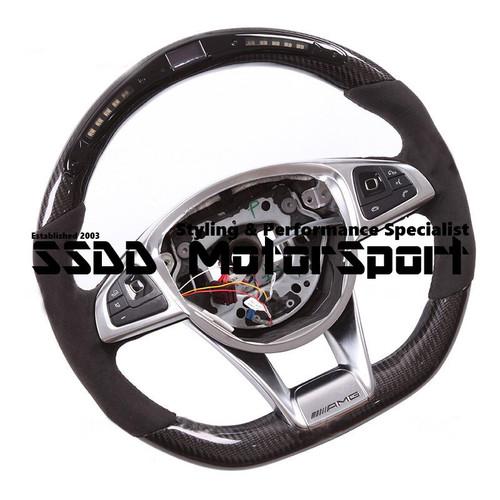 W205 C63 AMG W213 X156 GLA Flat Bottom Carbon LCD Race Display Steering Wheel