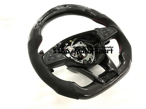 W205 C63 A45 CLA45 GLA45 AMG Flat Bottom Carbon LCD Race Display Steering Wheel