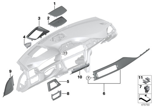 Genuine BMW Carbon Fibre Interior DashTrim - RHD Passenger Side 51458068610 , F80 M3 LCI, F82 F83 M4 LCI