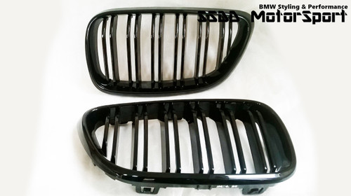 F22 F23 F87 M2 Gloss Black Double Slats Kidney Grilles