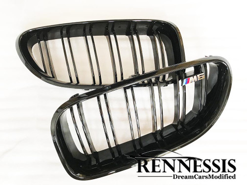 RENNESSIS PErformance Look High Gloss Black Kidney Grilles for F12 F13 F06 M6 - With FREE M6 BADGES