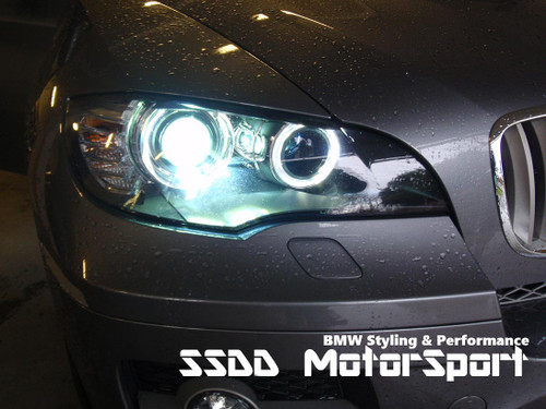 Superwhite BMW H8 LED Angel Eyes Upgrade Kit for E81 E87 (LCI 07-11) with xenon lights, E82 E88 07-13 with xenon lights, E82 1M coupe 11-13, E90 E91 LCI (08-12) with xenon headlights, E92 E93 06-09, E9X M3 07-13, E60 E61 LCI (07-11) with xenon lights, E70 X5 and E71 X6 with xenon lights.