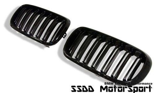 BMW F15 X5 F16 X6 M look double slats black kidney grilles