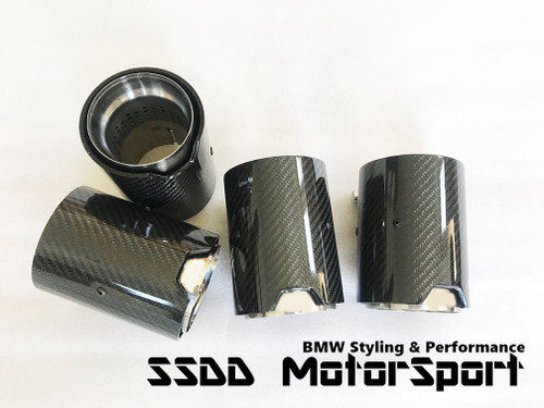 Carbon Fibre Perforated Exhaust Tips for BMW FX M2, M3, M4, M5, and M6 | Carbon Fibre & Stainless Steel